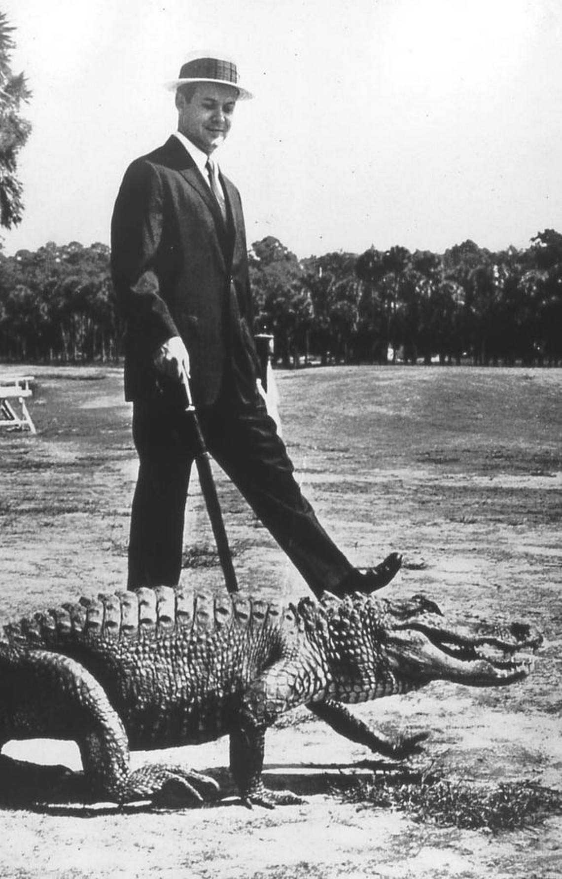 Sea Pines founder Charles Fraser and an alligator from a 1962 edition of The Saturday Evening Post, which featured Fraser's then-new Sea Pines resort. Saturday Evening Post/Coastal Discovery Museum